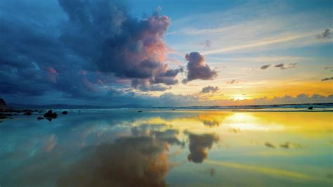 Download Wallpaper 1920x1080 clouds, sky, sea, reflection