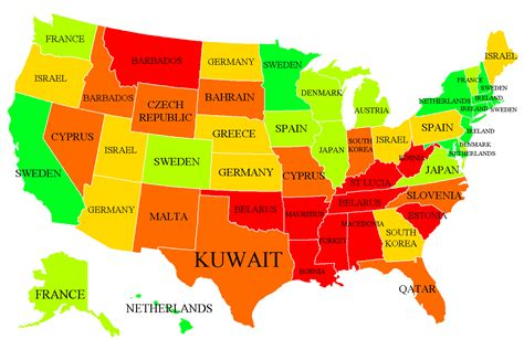 American states labeled as countries with similar HDI
